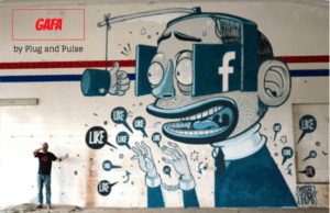GAFA street art facebook Plug and pulse