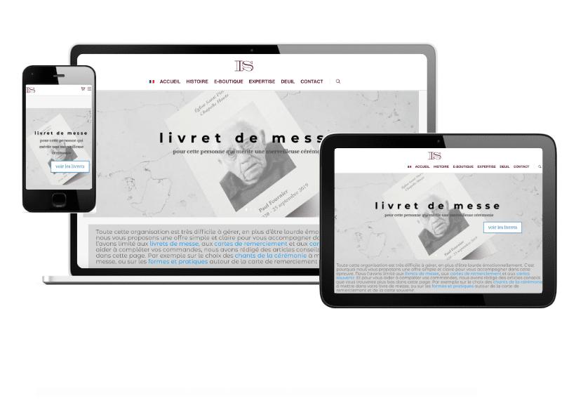 page destination deuil de l'imprimerie Schneider sur tablette ordinateur et mobile