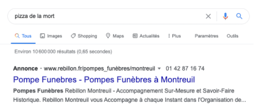 exemple google ads pompes funebres plug and pulse
