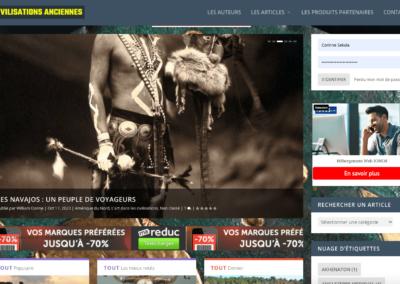 capture d'écran site web civilisations anciennes par plug and Pulse
